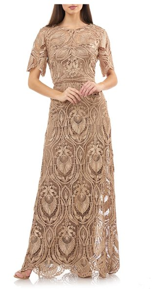 JS Collections js collection illusion lace evening dress in metallic