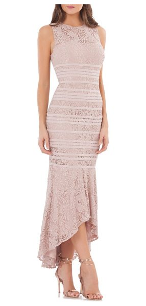 JS Collections lace high/low gown in pink