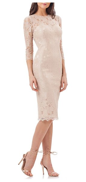 JS Collections lace sheath dress in rose gold - A lacy overlay, scalloped hem and diamond back cutout...
