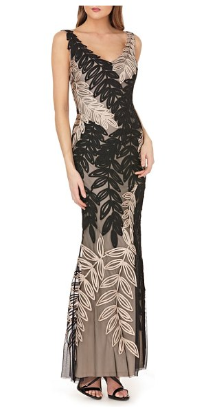 JS Collections leaf soutache trumpet gown in black/ gold - Richly textured soutache ribbons shaped into lush fronds...