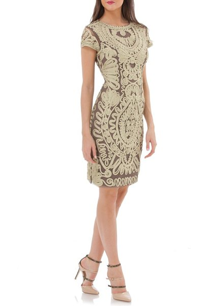 JS Collections metallic soutache cocktail dress in gold/ stone - A classic cocktail sheath takes on opulent glamour...