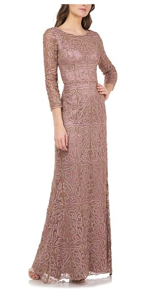 JS Collections metallic soutache trumpet gown in pink