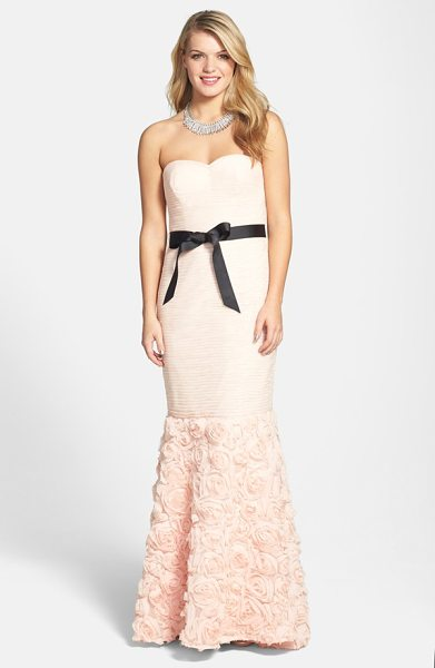 JS Collections rosette detail shirred mesh dress in blush - Finely shirred mesh wraps sultry dimension around the...