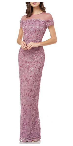JS Collections sequin lace gown in pink