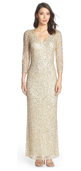 JS Collections sequin mesh gown in champagne - A stunning collection of metallic sequins illuminates...