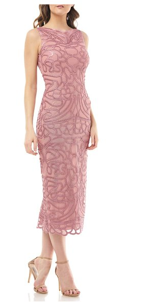 JS Collections soutache embroidered midi dress in pink