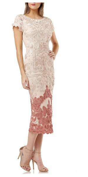 JS Collections soutache lace midi dress in beige