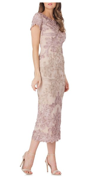 JS Collections soutache lace midi dress in pink/ sand - Soutache applique scrolls over the bonded-lace...