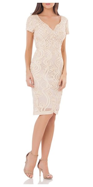 JS Collections soutache mesh sheath dress in rose/ gold - Sophisticated soutache applique swirls around this airy...