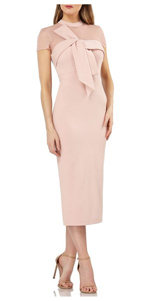 JS Collections bow detail midi dress in pink