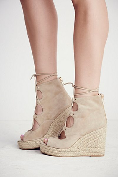 J/SLIDES Prima lace up wedge - Lace-up espadrille wedges with suede uppers and an...