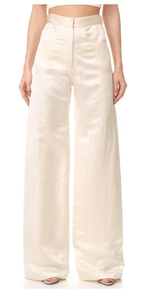 Juan Carlos Obando 5 pocket trousers in cream - Soft silk-linen satin composes these high-waisted Juan...