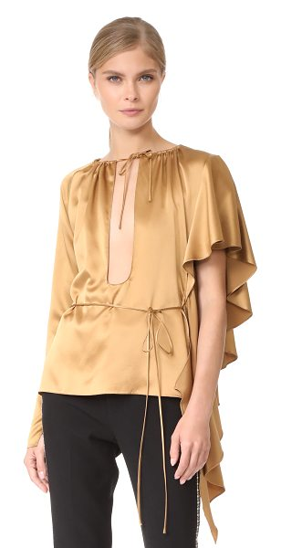 JUAN CARLOS OBANDO asymmetrical ruffle blouse - Fluid ruffles drape from the shoulder of this...