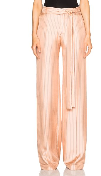 Juan Carlos Obando Bayamo Trouser Pants in pink,stripes - 100% silk.  Made in USA.  Hook and bar front closures. ...