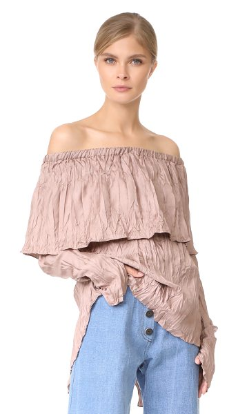 Juan Carlos Obando pleated peasant blouse in suave mauve - Crinkled texture adds a unique look to this...