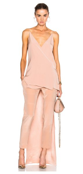 Juan Carlos Obando Rosewood Crepe Back Satin Mirrored Deep V-Neck Top in pink - 100% silk.  Made in USA.  Dry clean only.  Wrap around...