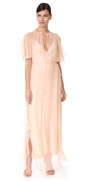 Juan Carlos Obando ruffle gathered gown in light blush - An ethereal Juan Carlos Obando gown with an airy drape....