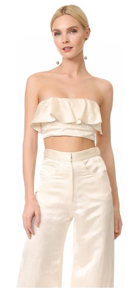 Juan Carlos Obando ruffle tie back bustier in cream - A daring Juan Carlos Obando bustier rendered in...