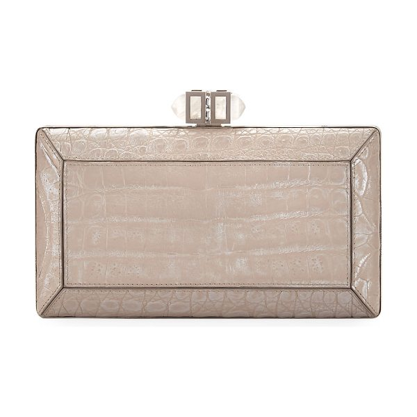 JUDITH LEIBER COUTURE Coffered Crocodile Minaudiere in nude - Judith Leiber Couture coffered box clutch bag, wrapped...