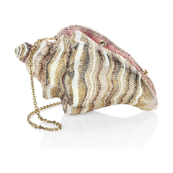 JUDITH LEIBER COUTURE conch shell crystal clutch in champagne - Conch shell-shaped clutch with striped crystals....