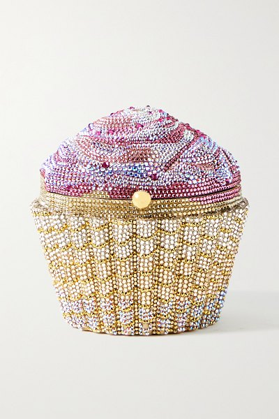 Judith Leiber Couture cupcake strawberry crystal-embellished gold-tone clutch in pink
