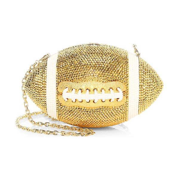 Judith Leiber Couture football pigskin crystal clutch in champagne