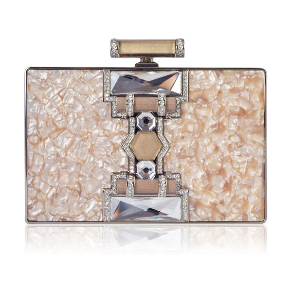 JUDITH LEIBER COUTURE Jazz Age Ridged Rectangle Marble Resin Clutch Bag in peach - Judith Leiber Couture rectangular clutch bag in marbled...