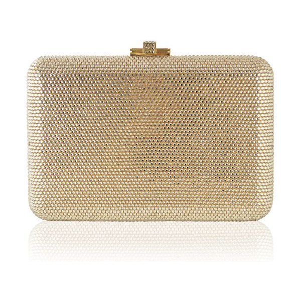 Judith Leiber Couture slim slide fullbead clutch in silver prosecco - Ultra-glam hinged clutch encrusted with crystals...