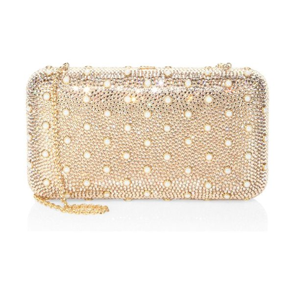 Judith Leiber smooth rectangle studded crystal clutch in champagne - Crystal-encrusted rectangle clutch with pearly studs...