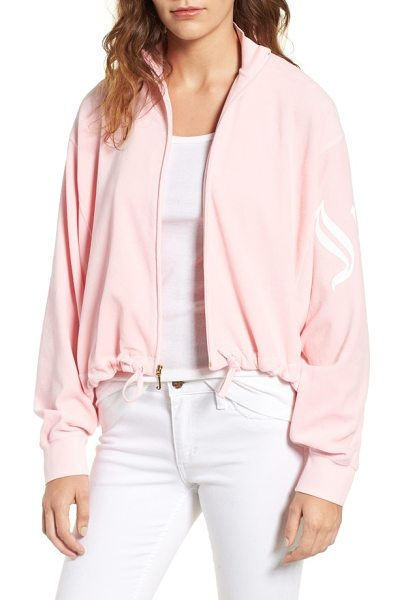 Juicy Couture velour batwing track jacket in riot blush - Batwing sleeves, a drawstring waist and a softly...