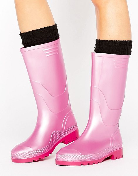 Juju JUJU Vintage Metallic Wellington Boot in pink - Boots by JuJu, Durable metallic upper, Pull-on style,...
