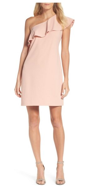 Julia Jordan ruffle one-shoulder shift dress in pink - A single, ruffled shoulder adds an on-trend finish to...