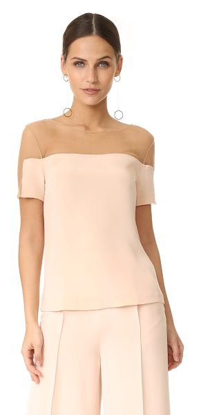 JULIANNA BASS jasmine silk top - Sheer tan mesh lends a barely-there element to this...