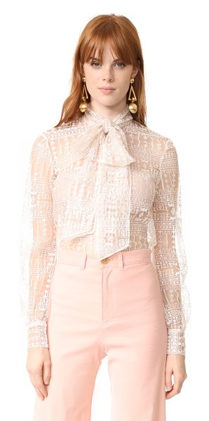 Julianna Bass mathilda blouse in pale blush - This filmy Julianna Bass blouse is accented with...