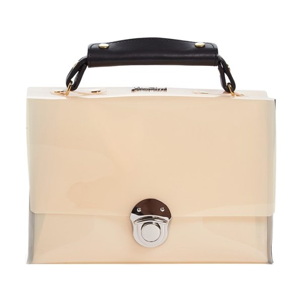 Julien David Faux patent leather bag in cream/ grey