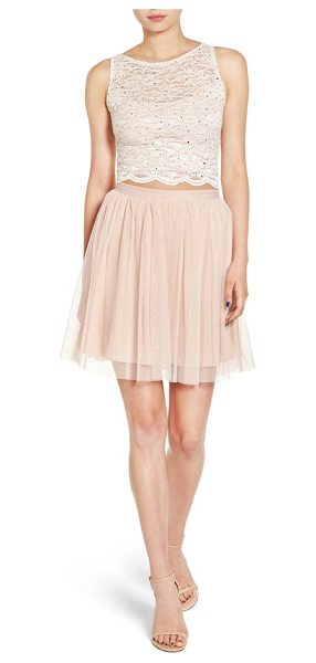 JUMP APPAREL lace bodice two-piece dress in blush - A ballerina-inspired two-piece dress features a lacy...