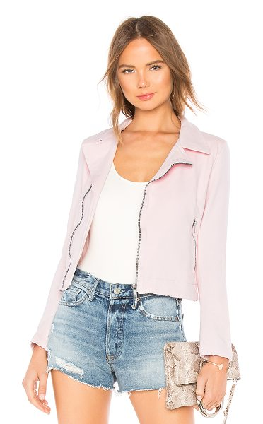 June Distressed Stretch Moto Jacket in pink - 100% poly. Front zipper closure. Side zipper closures....