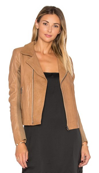 June Fitted Leather Moto in brown - Self: 100% genuine leatherLining: 100% polyPocket...