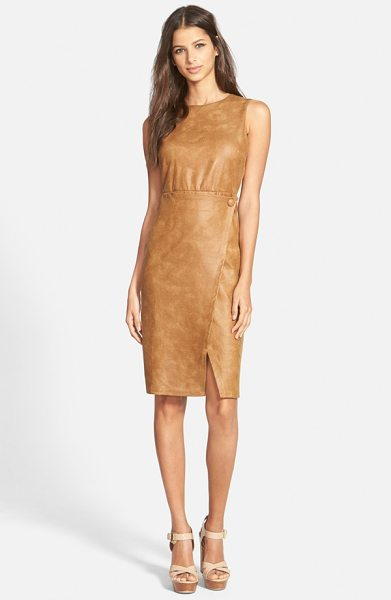 June & Hudson faux leather body-con dress in brown