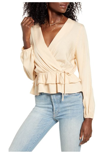 June & Hudson ruffle trim faux wrap top in beige