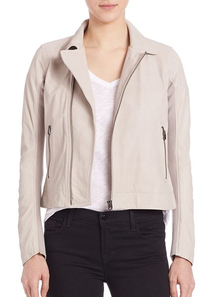 June leather fitted moto jacket in stone - Sleek leather moto jacket with knit-inset sleeves. Point...