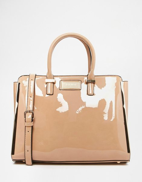 Juno Accessories Juno patent handheld tote with optional shoulder strap in nude