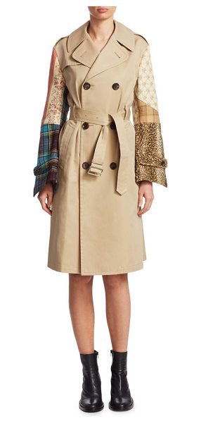 Junya Watanabe cotton patchwork trench coat in beige mix - Cotton trench coat with colorful patchwork sleeves....