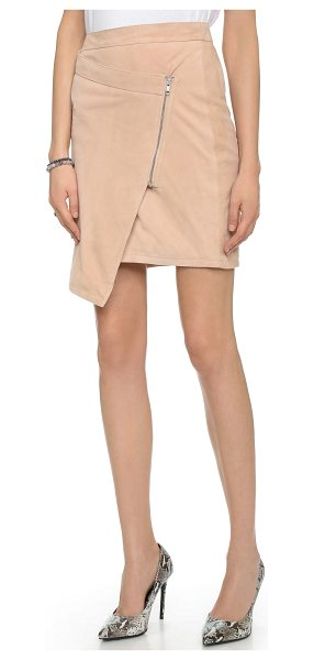 Just Female Came leather skirt in pink - Smooth leather brings downtown edge to this asymmetrical...