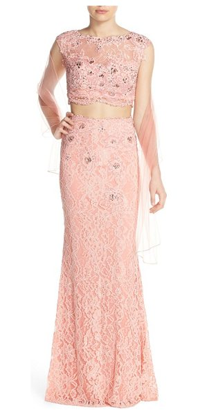 JVN BY JOVANI embellished lace two-piece gown & shawl in blush - Glistening in iridescent beadwork and sequins, this...