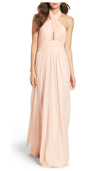 JVN BY JOVANI shirred gown in blush - A crinkled, crisscrossing bodice supports and flaunts...