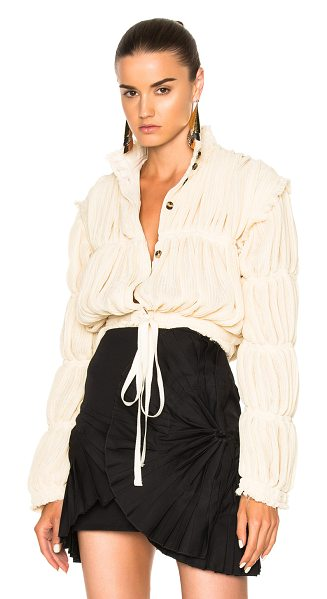 J.w.anderson Pleated Gauze Jacket in neutrals - Self: 61% poly 39% viscose - Contrast Fabric: 71%...