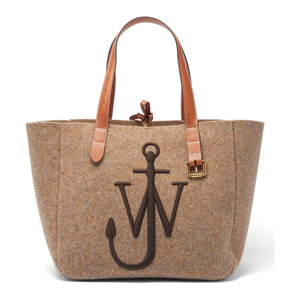 J.w.anderson belt embroidered-anchor wool-felt tote bag in beige