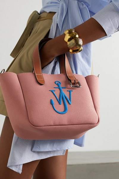 J.w.anderson belt mini leather-trimmed embroidered canvas tote in pink