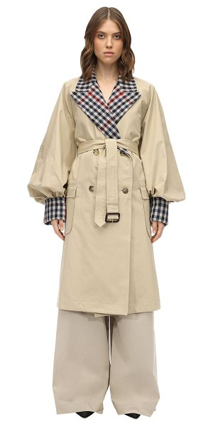 J.w.anderson Check cotton canvas trench coat in beige